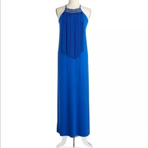Michael Kors maxi dress with gold trim and fringe